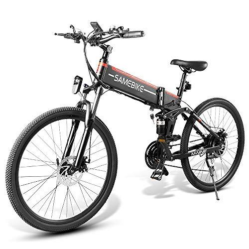 Lixada Bicicleta Eléctrica Plegable Motor 48V 500W Rueda 26 Pulgadas Radio de Velocidad Variable E-Bike Scooter Ciclomotor