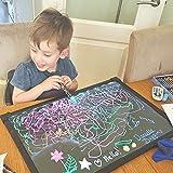 Art Craft - Tablón de dibujo con luz LED, sensorial, borrable, neón, para niños, colorido, tableros de dibujo, almohadilla de pintura electrónica con 8 rotuladores de tiza líquida y mando a distancia