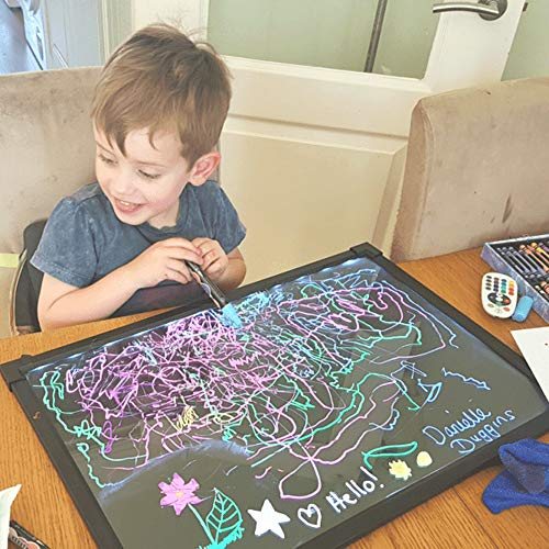 Art Craft Led Drawing Message Board Sensory Illuminated Erasable Neon Light Board Kids Colorful Doodle Scribble Boards Electronic Painting Pad with 8 Liquid Chalk Pens and Remote Control Pad Remote