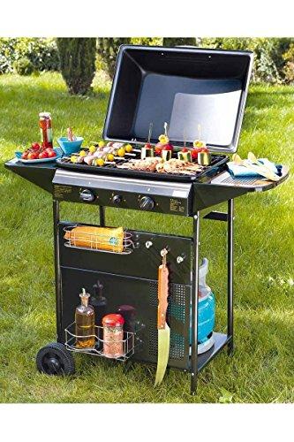 BBQ GAS Barbecue on wheels with: 2 burners, 2 side trays, 1 storage shelf