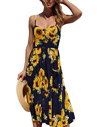 Yieune Sommerkleid Damen Strandkleid Ärmellos Blumenmuster Trägerkleid Knielang Abendkleider Sexy Partykleid Cocktail Kleid (Marine-Gelb S)