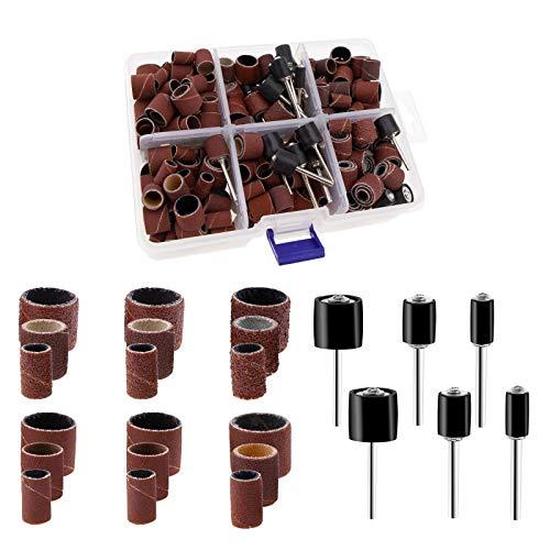 YINETTECH 384 Stück Schleifhülsen 80/120/240/320/400/600 Körnung Schleifhülsen Kit mit Koffer für Schleifmaschinen und Elektro-Drehwerkzeuge