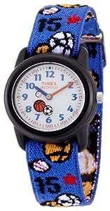 Timex - T752014E - Montre Enfant Garçon - Quartz Analogique - Football - Bracelet Tissu élastique - Eclairage