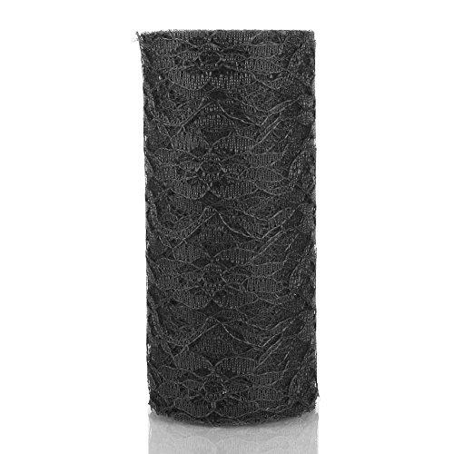nd 9m lange Rolle aus Tischläufer aus Spitze von Rungao, kann auch als Schärpe für Stühle und als Dekoration für Hochzeiten dienen schwarz (Black Lace Tischläufer)