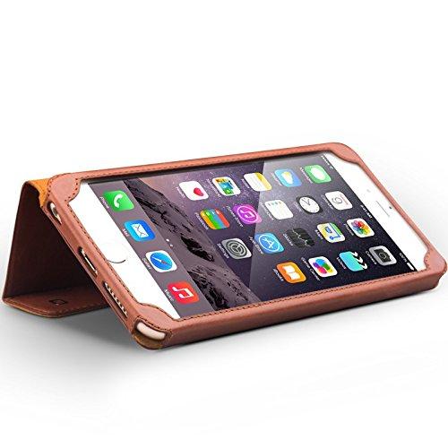 "iPhone 6/6S/+ Plus Ständer Fall, Slim Flip echtes Leder Schutzhülle, qialino Ultrathin Bookstyle Case, 11,9cm/14cm Apple Zelle Displayschutzfolie, Leder, iphone6 Brown, 4.7"" iphone6 iphone6 plus Brown"