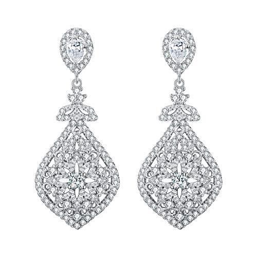EVER FAITH® Orecchini in Argento 925 Zirconia stile Antico Gatsby Ispirato lampadario a goccia orecchini trasparente