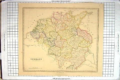 Antike Karte Deutschland 1839 Österreich Westfalen Böhmen Dutchy Schlesien