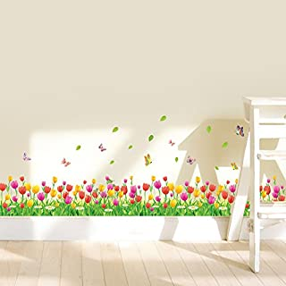 WandSticker4U- Wandtattoo Blumenwiese TULPEN in 2er Set | Breite: 228 cm | Wandaufkleber bunt Blüten Gräser Pflanzen Fenstersticker grün Wiese Blumen Bordüre | Deko für Wohnzimmer Kinderzimmer Flur