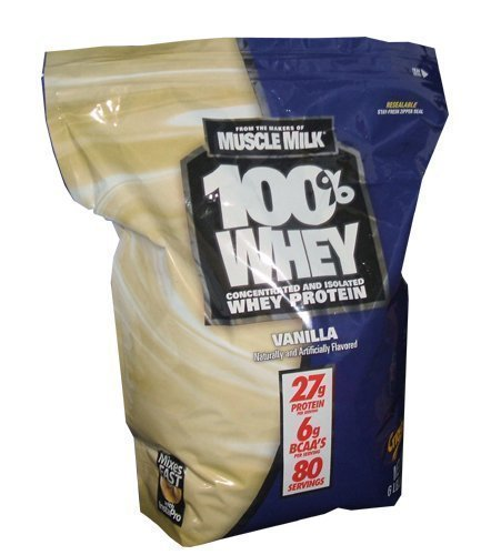 CytoSport makers of Muscle Milk 100% Whey Protein 27g 6lb Bag of Vanilla by Muscle Milk