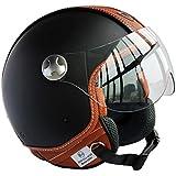 Peda Diseño Italiano (Moca B) ECE punto del estilo del cuero de la motocicleta del casco de la vendimia para Vespa, unisex abierta de la cara ITALIA Jet Sport Urban Cascos Capacete, Medio casco (M (57-58cm))