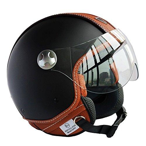 Peda italienischen Design (Moca B) ECE DOT Motorrad Helm Vintage Leder Stil für Vespa, Unisex-geöffneter Gesichts ITALIEN Jet Sport Urban Cascos Capacete, Halbhelm (L (59-60cm))