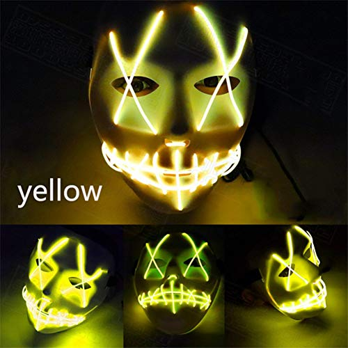 ROMANTIC BEAR. Halloween LED Maske, Cosplay LED Kostüm Thema Partys Maske EL Draht Leuchten Scary Maske (Gelb)