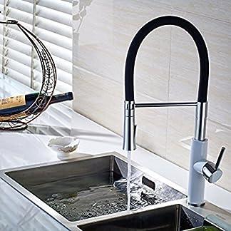 gimili contemporáneo, 2función de una sola manija tirar hacia abajo PRE-RINSE grifo de cocina, grifo de Rociador blanco pintura