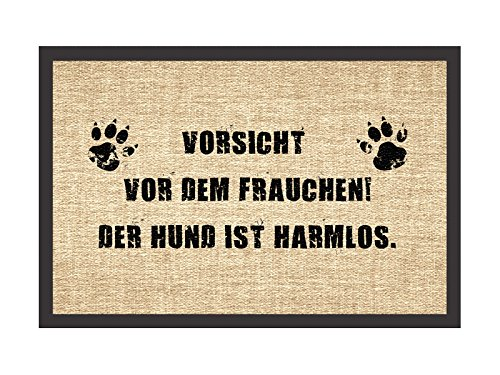 Shabby Vintage Fußmatte Türmatte VORSICHT VOR DEM FRAUCHEN Hund Hundematte