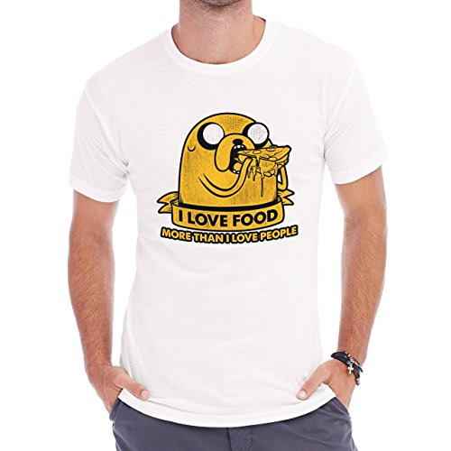 I Love Food More Than I Love People Jake The Dog Edition Herren T-Shirt Weiß