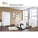 Babyzimmer Enni Hochglanz 19-tlg. mit 2 türigem Kl. + Textilien Sleeping Bear, Beige