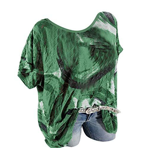 Kviklo Damen Westen Tank T-Shirt Sommer Gepunktet Druck Vintage Cap Kurzarm V-Ausschnitt Half-Button Top -