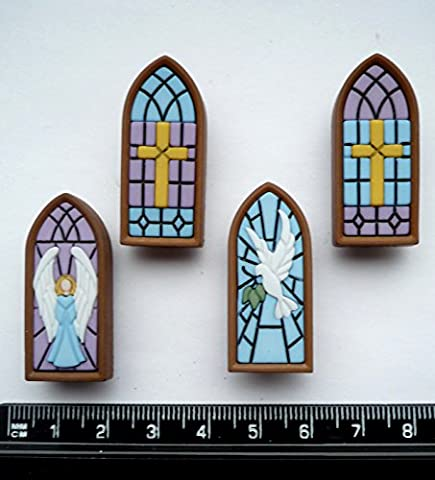 Stained Glass - Plastic Novelty Craft Buttons & Embellishments by
