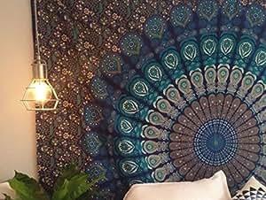 Arazzo da muro Mandala matrimoniale, tema colore blu, trama pavone indiano psichedelico, stile Bohemian, con stampa floreale, hippy arazzo di Raajsee (54 84).