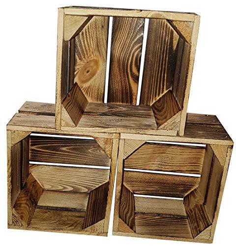 3er Set Massive Holzkisten 22 x 20 x 15cm weiß / geflammt / natur kleine Obstkisten Weinkisten flach Dekokisten Apfelkisten Aufbewahrungsbox Geschenkbox Holztruhe Vintage Shabby Chic Deko (Geflammt)