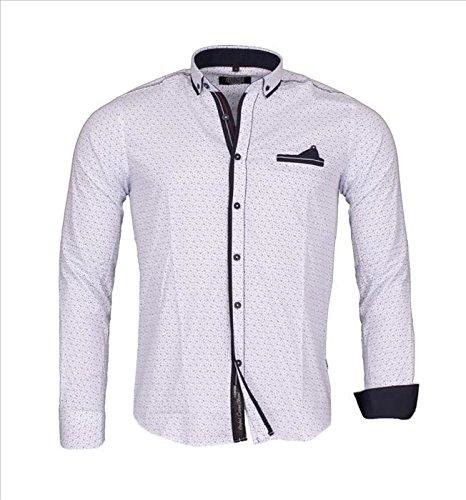 Carisma-Herren Hemd Langarm Designer gepunktet, blau marine, weiß, blau Weiß