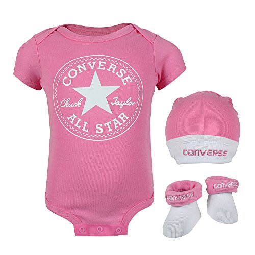 Converse Babykleidung Erstausstattung Baby Geschenkset 3er Gift Set Rosa 0-6 Monate (Baby Mädchen Bekleidung Sets)