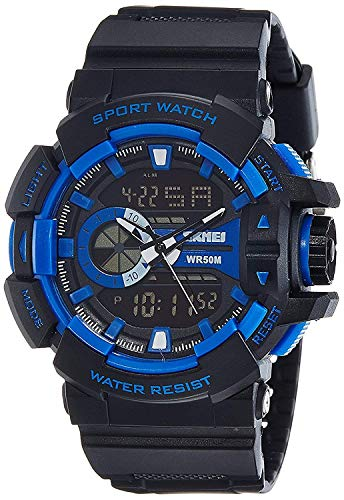 Xotak Analogue - Digital Multi-Functional Stainless Steel Dual Time Outdoor Blue Dial Sports Watches for Boys and Men