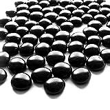 NEEZ - Ciottoli di vetro per decorazione acquario, vasi e decorazioni per la casa, pietre rotonde, pepite di mosaico, gemme di diverse dimensioni, colori e peso 100/200 pezzi, Black Pebbles-200pcs/1kg