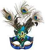 O46076 Pfau Maske Pfauenmaske Vogelmaske Federmaske