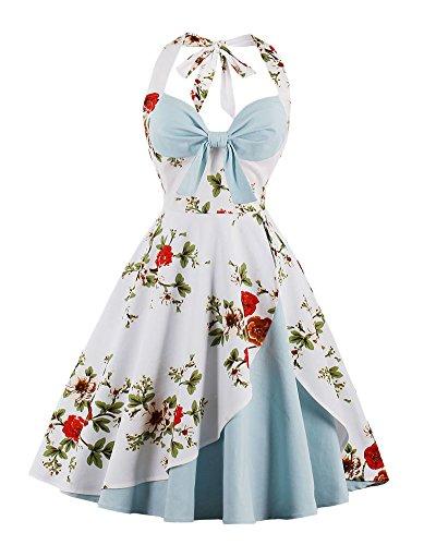 Robe de Bal Polka Vintage pin-up à 'Audrey Hepburn' 50's 60's Rockabilly Halter Dos Nu Bleu Clair M