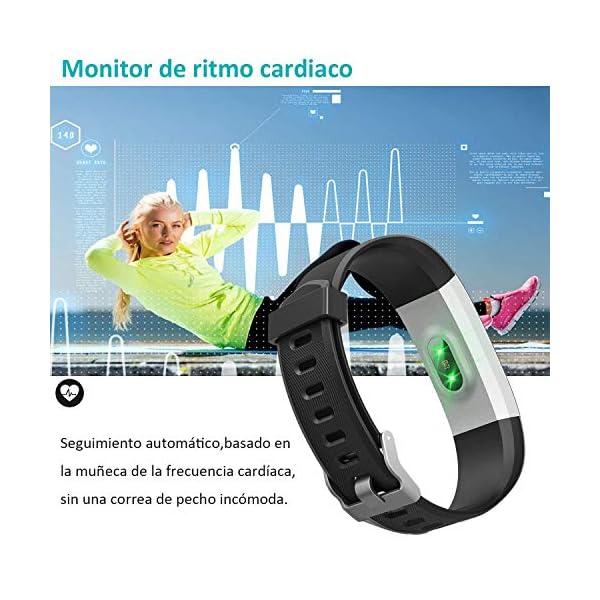 YAMAY Pulsera Actividad con Pulsómetro Mujer Hombre, Monitor de Actividad Deportiva, Ritmo Cardíaco, Impermeable IP67… 3