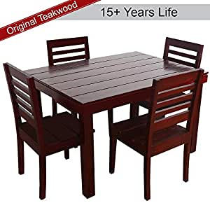 furny asian solid wood teak wood 4 seater dining table set mohgany polish electronics. Black Bedroom Furniture Sets. Home Design Ideas