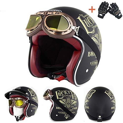 Member Vintage Chopper Helm Custom Cafe Racer Biker Motor Motorrad Vier Jahreszeiten atmungsaktiv Outdoor Sport leichte Jethelme 3/4 freie Handschuhe,XXL
