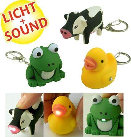 LED Schlüsselanhänger Kuh, Ente oder Frosch (Licht Fro 3)