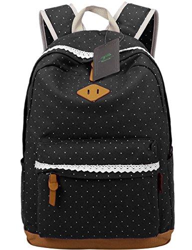 k mit Polka Dots Nette Canvas Schultaschen Damen Mädchen EXTRA Groß Kinderrucksack Daypacks Rucksäcke Modische mit Laptop Fach 33 * 45 * 17 cm – Little Princess (Schwarz) (Schule Kostüme)