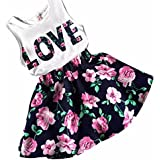 PHOTNO 2 Pcs Set Kids Baby Girl Summerletter Printed Casual Top Sleeveless Vest +Floral Skirt Girls (2-7Y) (110 (3-4Y), Navy)