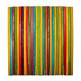 Kurtzy 100 Bâtonnets de 20 cm - Tiges en Bois Coloré - Bâtonnets Sucettes pour Loisirs Créatifs et Artistiques Projet Bricolage Couleurs Assorties Décoration Intérieur Mariage Jardin Gâteaux