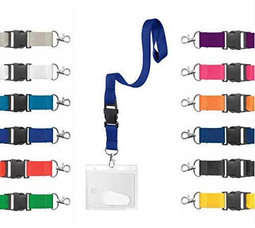 Karteo® Ausweishülle Hartplastik mit Schlüsselband blau   Kartenhülle horizontal mit Karabiner Band