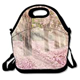 VTXWL Falling Petal Over The Tunnel of Pink Flower Trees Romantic Cherry Blossom On Nature Background Lunch Tote Lunch Bag Office Mid-Sized