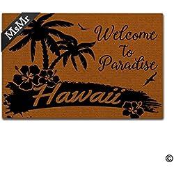 MsMr Funny Fußmatte Eingang vorne Fußmatte Welcome to Paradise Palme Hawaii Home Fußmatte Indoor Outdoor Decor Fußmatte Rutschfeste Rückseite aus Gummi Matte 76,2x 45,7cm
