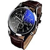 Luxury Mens Watches, Internet Faux Leather Blue Ray Glass Watches