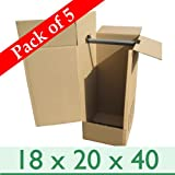 Wardrobe Cardboard Removal Packing Boxes + Rails - Pack of 5