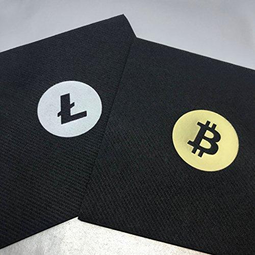 Bitcoin Cocktail Servietten | aus schwarzem Premium Airlaid | 25 St. | 25 x 25 cm | hochwertige BITCOIN Goldprägung | - 6