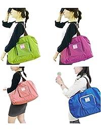 Rural Mart Happy Travel Luggage Folding Storage Bag (Dark Pink)