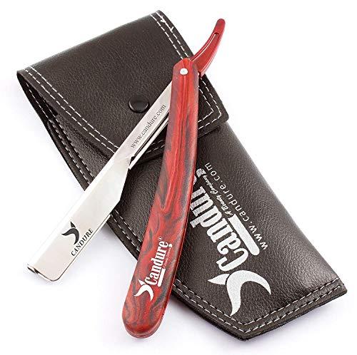 CANDURE Navaja de afeitado Maquinilla de afeitar tradicional Derecho Cuchillo de afeitar