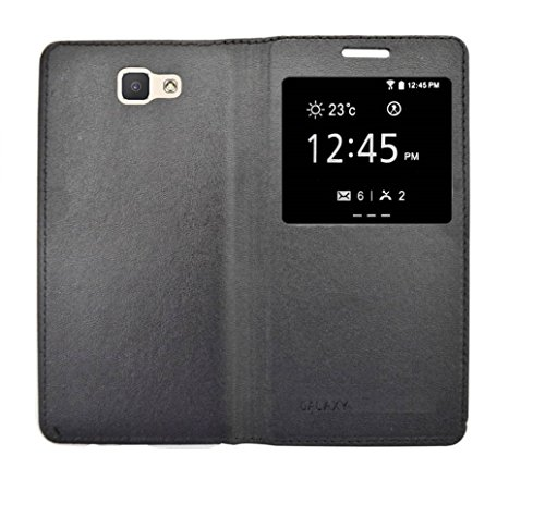 COVERNEW Window Flip Cover for Samsung Galaxy On7 Prime -SM-G611FG - - Black
