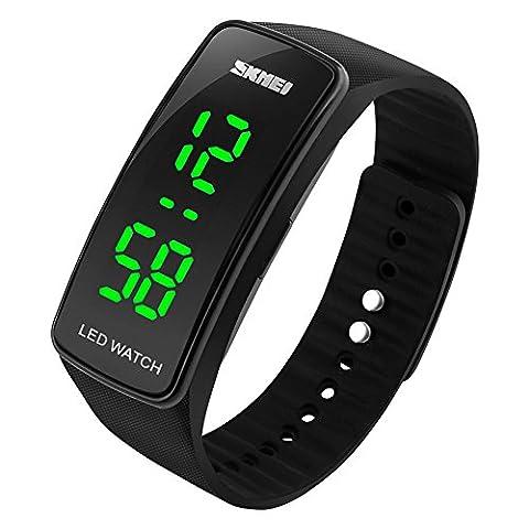 HUKOER Unisex Männer Frauen Sport Uhren Silikon Armband Digital LED Armbanduhr Wasserdicht Outdoor Casual Uhren (Schwarz)