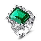 JewelryPalace Anillo lujoso adornado Nano rusa imitado esmeralda en plata de ley 925 Tamaño 19