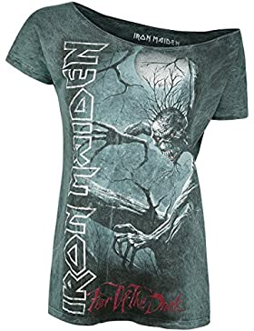 Iron Maiden Fear of The Dark Vintage Camiseta Mujer Gris