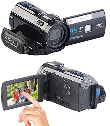 Somikon Videokamera: 4K-UHD-Camcorder mit Panasonic-Sensor, WLAN, App, HD mit 120 B/Sek. (Videocam)